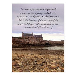 Paso de la biblia, playa escocesa y casas viejas tarjeta postal