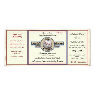 """Paso de la reunión de familia del béisbol invitación 4"""" x 9.25"""""""