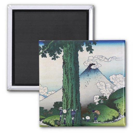 Paso de Mishima en la provincia de Kai, Hokusai Imán Cuadrado