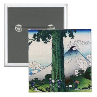 Paso de Mishima en la provincia de Kai, Hokusai Pin Cuadrado