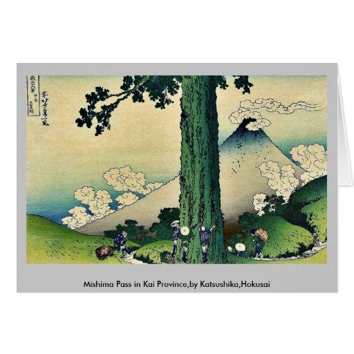 Paso de Mishima en la provincia de Kai, por Katsus Tarjeta