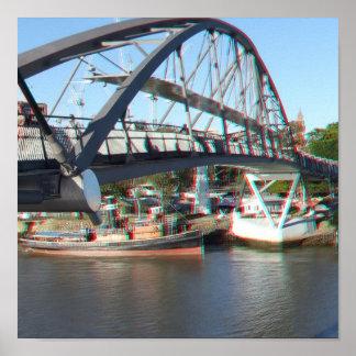 Paso de peatones del río de Brisbane en el anáglif Posters