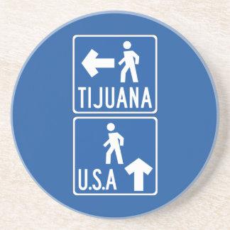 Paso de peatones los Tijuana-E.E.U.U., señal de Posavaso Para Bebida