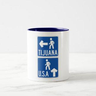 Paso de peatones los Tijuana-E.E.U.U., señal de Taza