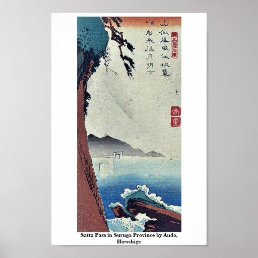 Paso de Satta en la provincia de Suruga por Ando,  Poster