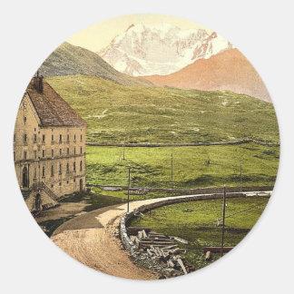 Paso de Simplon el hospicio Valais montañas de Etiquetas Redondas