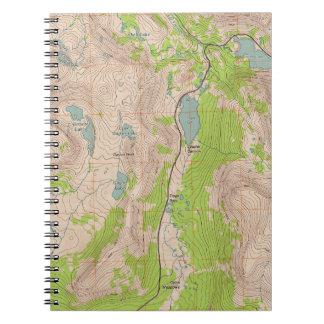 Paso de Tioga, mapa topográfico de California Notebook