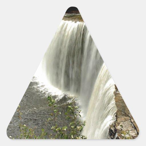 Paso del agua de la naturaleza pegatina triangular