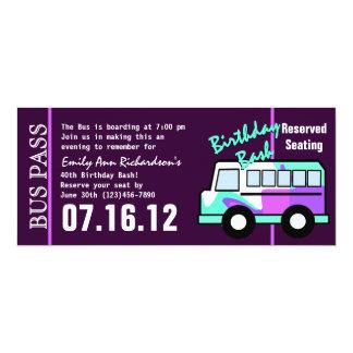 """Paso del autobús del cumpleaños invitación 4"""" x 9.25"""""""