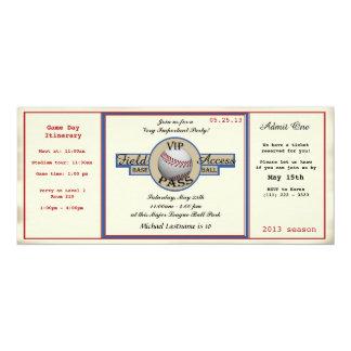 """Paso del campo del cumpleaños del béisbol invitación 4"""" x 9.25"""""""