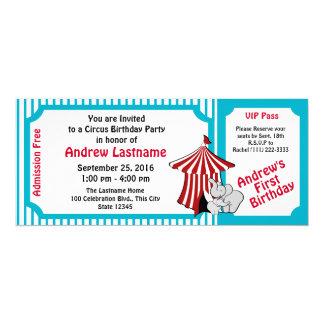Paso del cumpleaños del circo invitación 10,1 x 23,5 cm