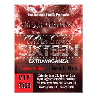Paso del VIP del dulce dieciséis del resplandor de Invitación Personalizada
