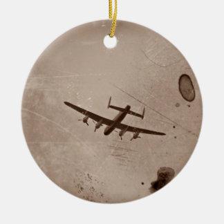Paso elevado de Avro Lancaster Adorno Navideño Redondo De Cerámica