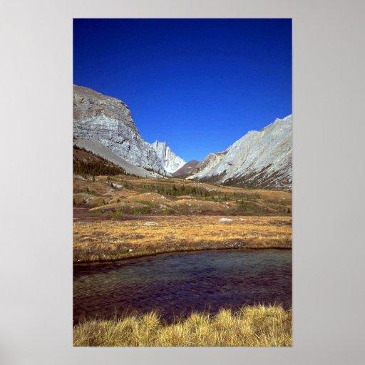 Paso en las montañas rocosas, Alberta, Canadá del  Poster