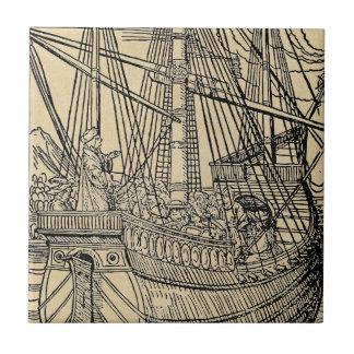 Paso en un buque mercante azulejo cuadrado pequeño