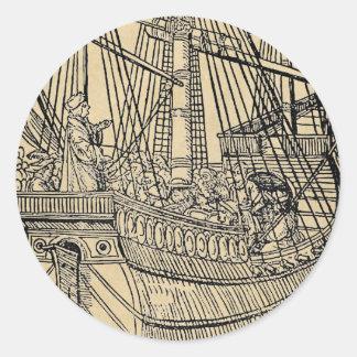 Paso en un buque mercante pegatina redonda