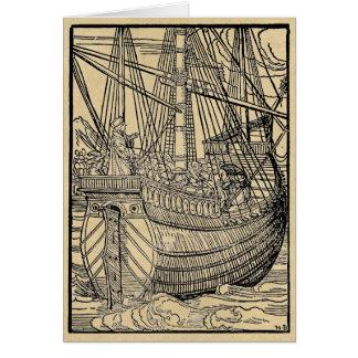 Paso en un buque mercante tarjeta de felicitación