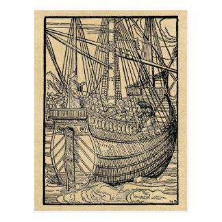 Paso en un buque mercante tarjeta postal