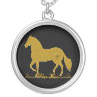 Paso Fino Gold Silhouette Heart Necklace
