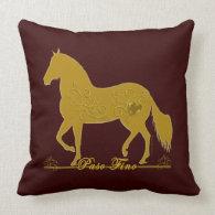 Paso Fino Gold Silhouette Heart Pillow