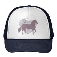 Paso Fino Horse Heart Grungy Mauve Mesh Hat