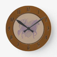Paso Fino Horse Heart Grungy Mauve Wall Clock