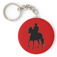 Paso Fino Horse Silhouette Rider Keychains