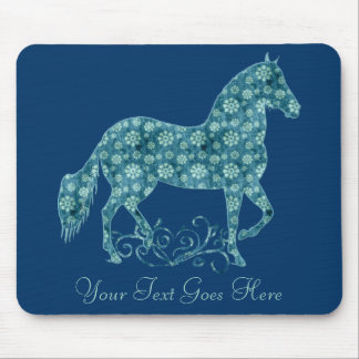 Paso Fino Horse Teal Grunge Floral Mouse Pad