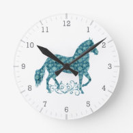 Paso Fino HorseTeal Grunge Floral Round Wall Clocks