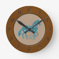 Paso Fino HorseTeal Grunge Floral Round Wall Clock