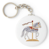 Paso Fino Rose Scroll Carousel Horse Keychain
