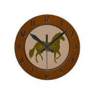Paso Fino Silhouette Heart Round Clock