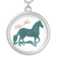 Paso Fino Teal Silhouette Shadow Necklace