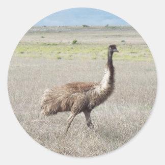 paso grande del emu pegatina redonda