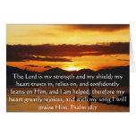 Paso hermoso de la biblia del 28:7 del salmo tarjeta