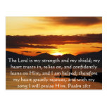 Paso hermoso de la biblia del 28:7 del salmo tarjetas postales