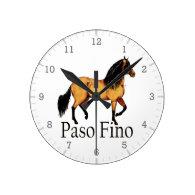 Paso Horse Buckskin Paso Fino Round Wallclock
