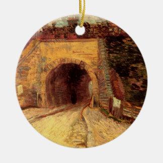 Paso inferior del camino de Van Gogh, el viaducto, Adorno Navideño Redondo De Cerámica