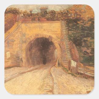 Paso inferior del camino w, viaducto de Vincent Pegatina Cuadrada