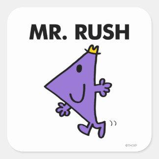 Paso rápido de Sr. Rush el   Pegatina Cuadrada