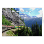 Paso y cumpleaños blancos del tren de Brother de Tarjeta De Felicitación
