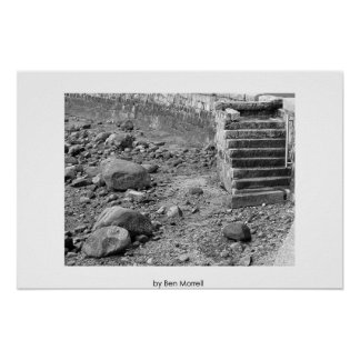 Pasos a una playa rocosa póster