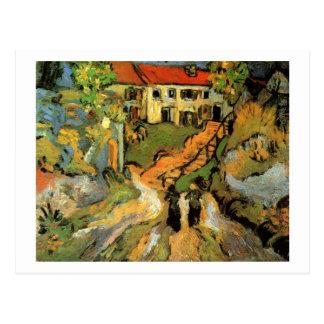 Pasos de la calle del pueblo dos figuras bella postales