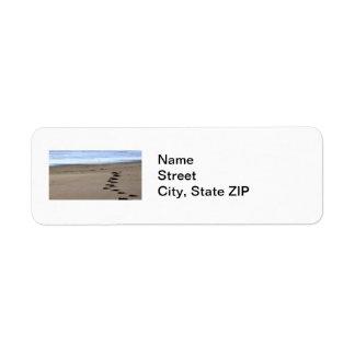 Pasos de la playa etiqueta de remite