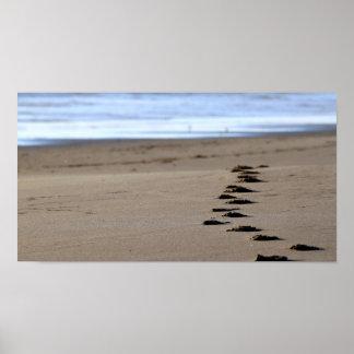 Pasos de la playa póster