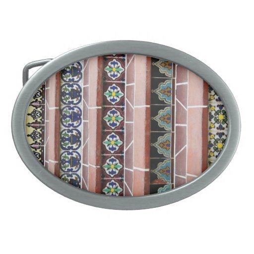Pasos de la teja del vintage hebillas cinturon ovales