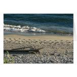 pasos del pie en la arena tarjeta