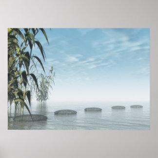 Pasos del zen al horizonte póster
