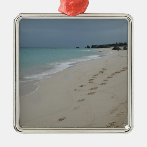Pasos en la arena de Bermudas Adorno Navideño Cuadrado De Metal