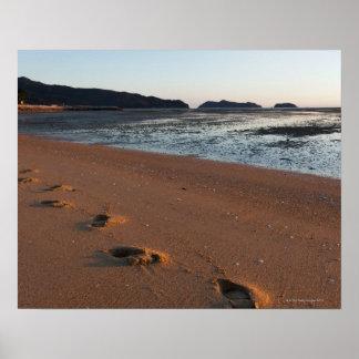 Pasos en las arenas en la salida del sol póster